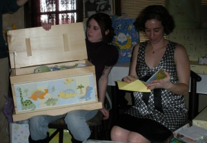 Emily and I opening gifts