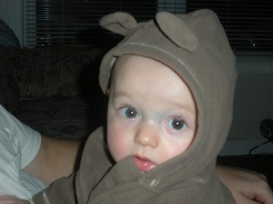 I'm such a mom.  I'm just a sucker for these cute little hoodies with bear ears... he has two.